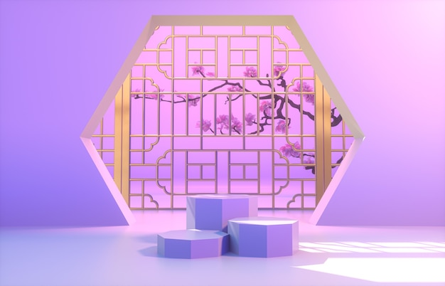 Chinese achtergrond met paars podium voor productvertoning.