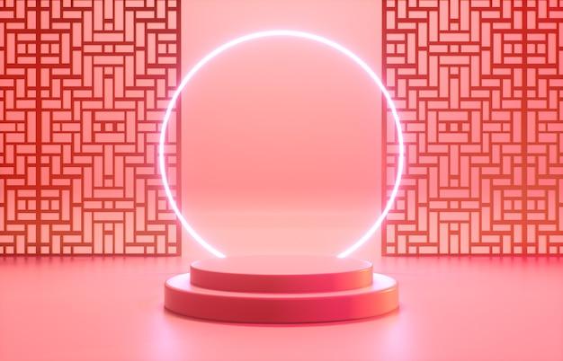 Chinese achtergrond met rood podium en neonlicht voor productvertoning.
