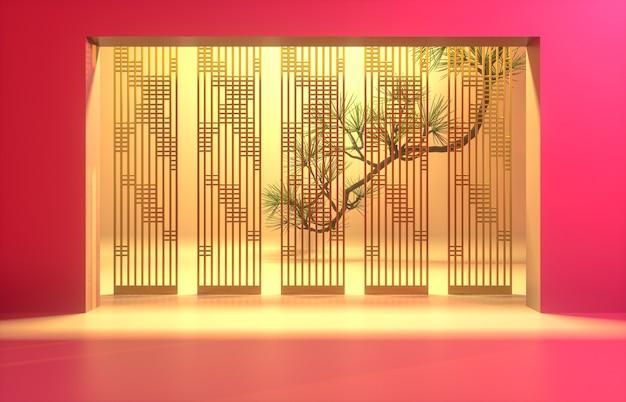 Chinese achtergrond met rood podium voor productvertoning.