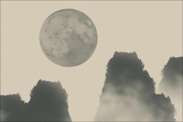 Chinese cirkelvormige schilderij landschap zen