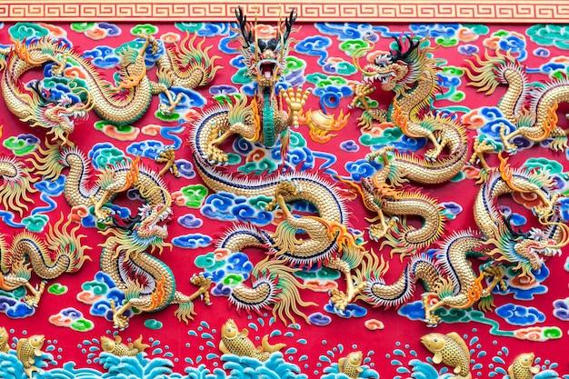 Chinese draak op de muur