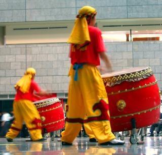 Chinese drummers op het werk