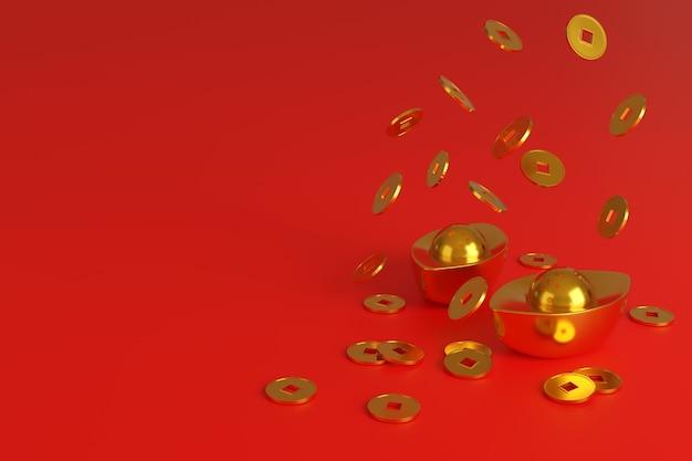 Chinese goudstaven en munten, symbool van welvaart, geïsoleerd op rode achtergrond.