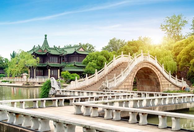 Chinese klassieke tuin, jiuqu-brug en oude architectuur