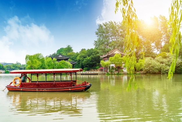 Chinese klassieke tuinen, oude gebouwen en meren