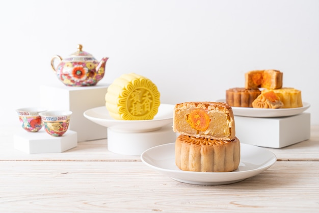 Chinese maancake durian en eigeelsmaak voor mid-autumn festival