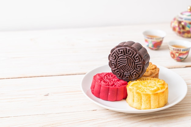 Chinese maancake pure chocoladesmaak voor mid-autumn festival