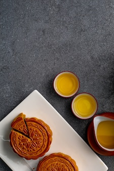 Chinese mooncake is traditioneel zoet voedsel voor lekker. aziatische dessertkeuken.