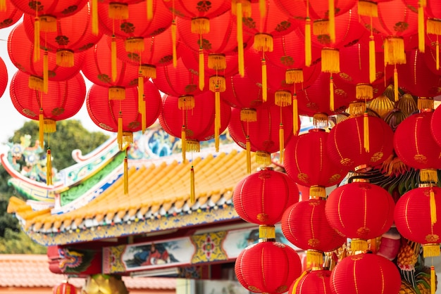 Chinese nieuwe jaarlantaarns op het stadsgebied van china.
