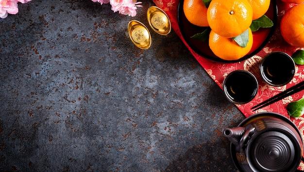 Chinese nieuwjaarsversieringen, poeder of rood pakket, oranje en goudstaven