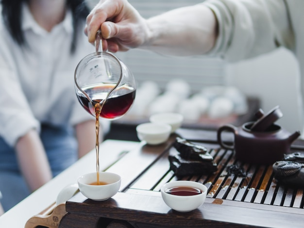 Chinese puerh theeceremonie