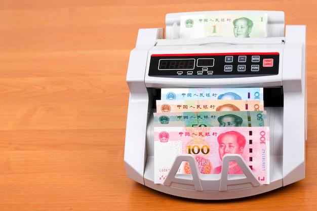 Chinese yuan in een telmachine