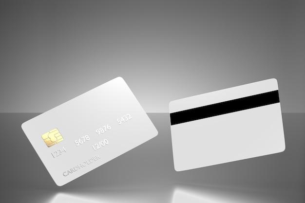 Chipkaarten voor uw ontwerp. bankkaartmodel met achterkant. blanco creditcardsjabloon voor uw ontwerp. 3d-weergave.