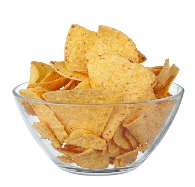 Chips op kom op wit wordt geïsoleerd dat