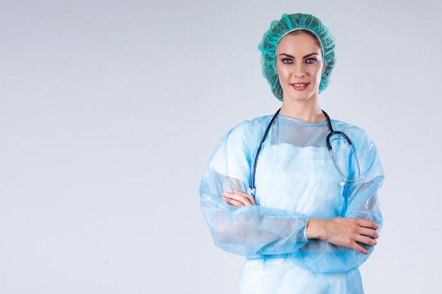 Chirurg in beschermende slijtage. medicijnen, chirurgie en mensen