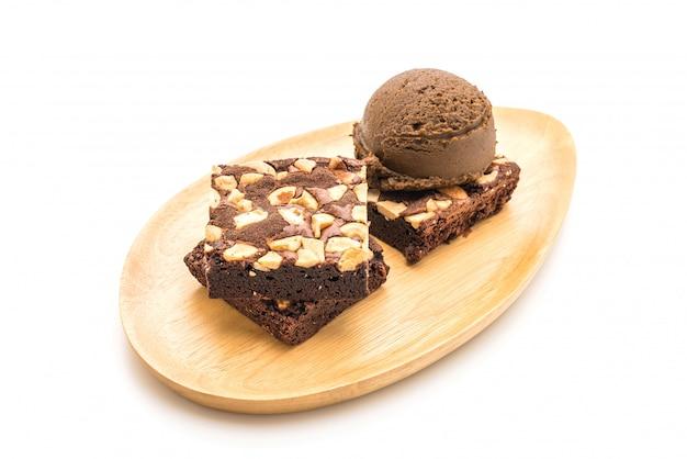 Chocolade brownies met chocolade-ijs
