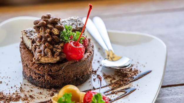 Chocolade cheesecake met crumble korst