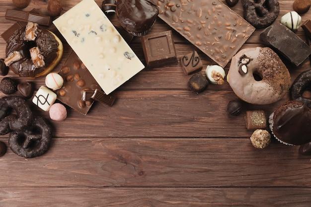 Chocolade dingen van boven bekijken