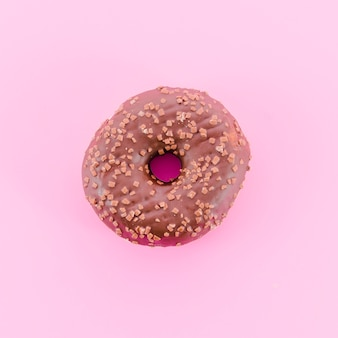 Chocolade donut met kleur achtergrond