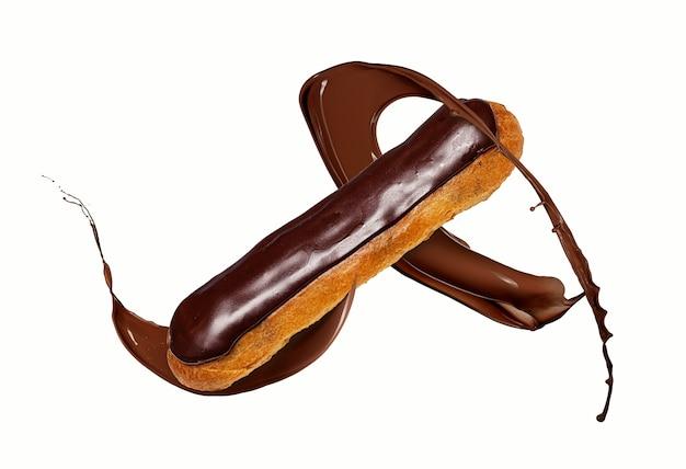 Chocolade eclair met spatten