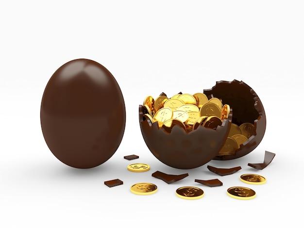 Chocolade-ei en gebroken eierschaal vol gouden munten