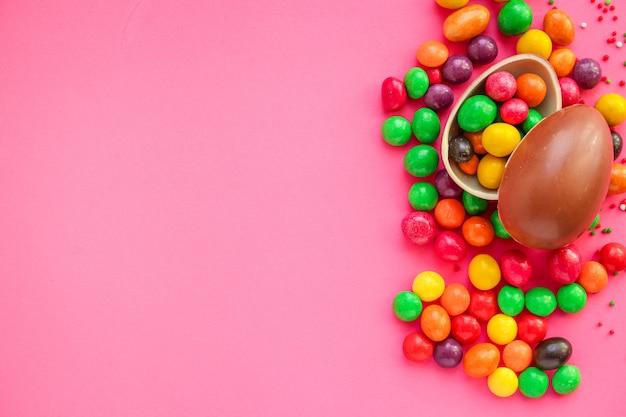 Chocolade-ei en snoep pasen decor