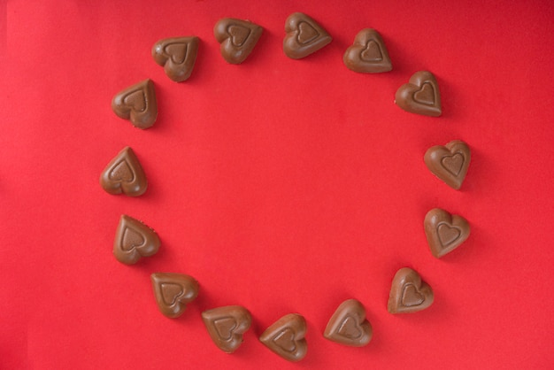 Chocolade harten frame bovenaanzicht