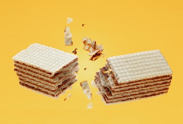 Chocolade knettert knapperige wafeltjes met kruimels op geel