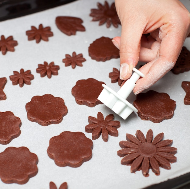 Chocolade koekjes gevormde bloem