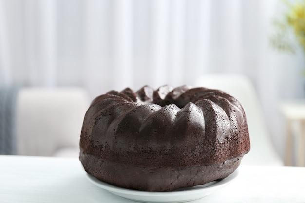 Chocolade muffin cake, op tafel