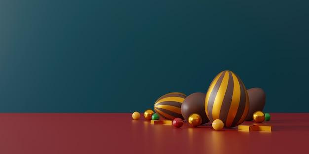Chocolade paaseieren en geschenkdoos op groen