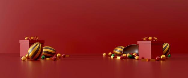 Chocolade paaseieren en geschenkdoos op rood