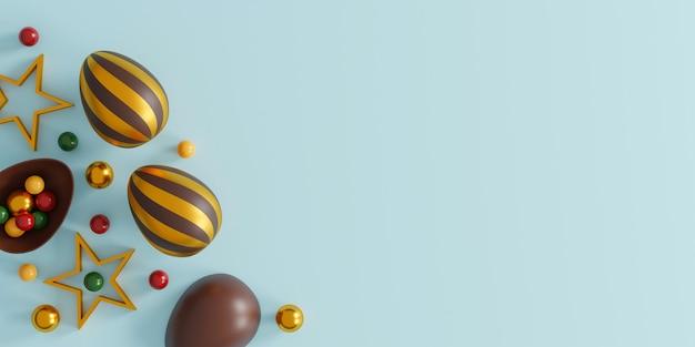 Chocolade paaseieren op blauw