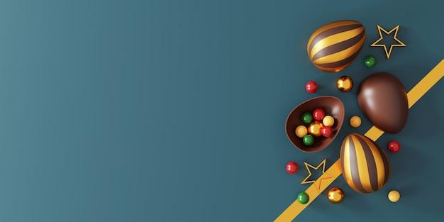 Chocolade paaseieren op groen
