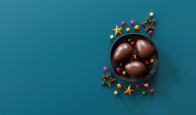 Chocolade paaseieren op groene donkere achtergrond. bovenaanzicht. plat leggen. 3d illustratie