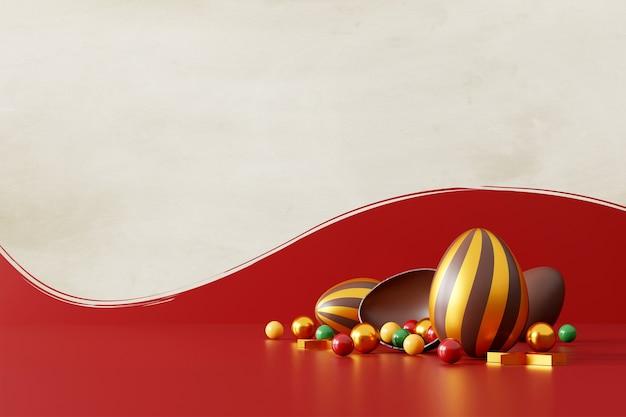 Chocolade paaseieren op rood