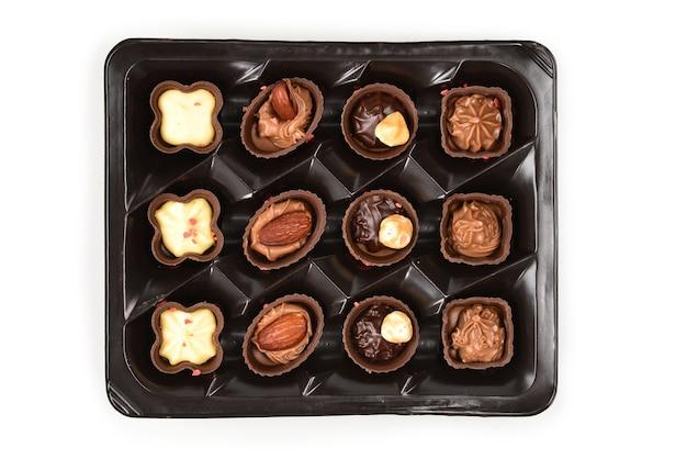 Chocolade snoep collectie in plastic doos