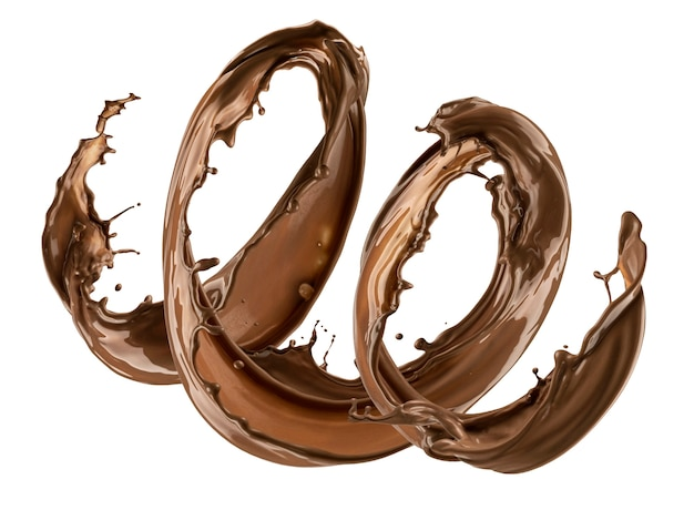 Chocolade splash geïsoleerd op witte achtergrond