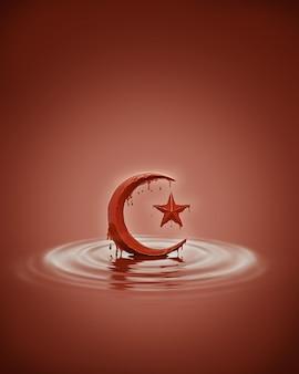 Chocolade splash vorm van islamitische halve maan