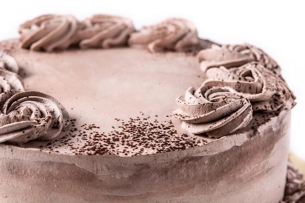 Chocolade truffel cake geïsoleerd op witte achtergrond