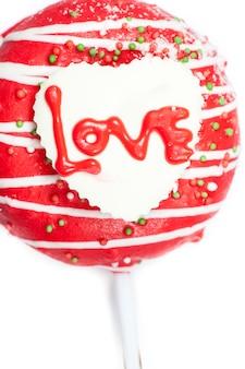 Chocolade van liefde in hart.