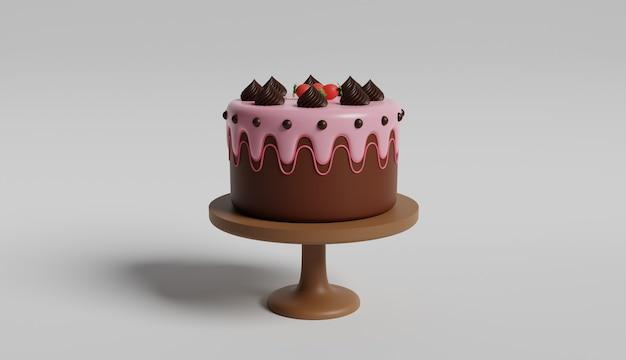 Chocolade verjaardagstaart illustratie 3d ontwerp