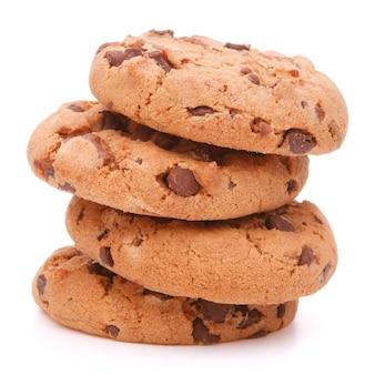 Chocolade zelfgemaakte gebak cookies geïsoleerd op een witte achtergrond