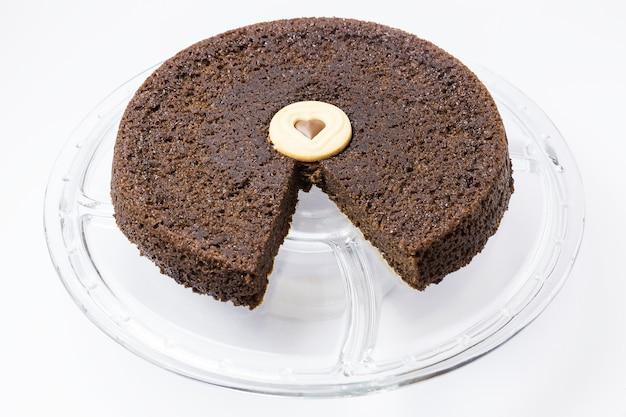 Chocoladecake met een hartpasta in het midden