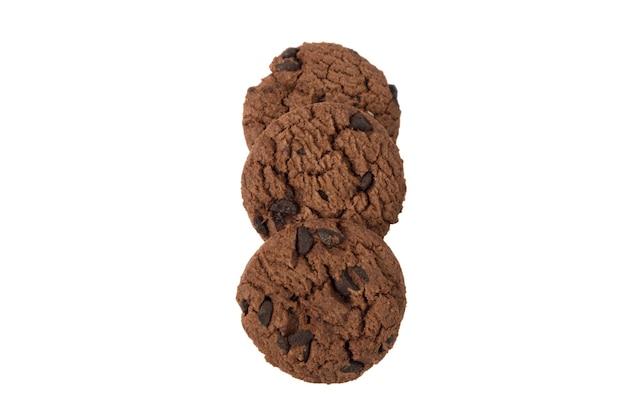 Chocoladekoekje geïsoleerd op een witte achtergrond