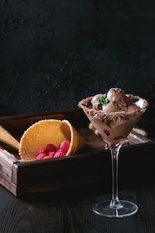 Chocoladeroomijs met frambozen