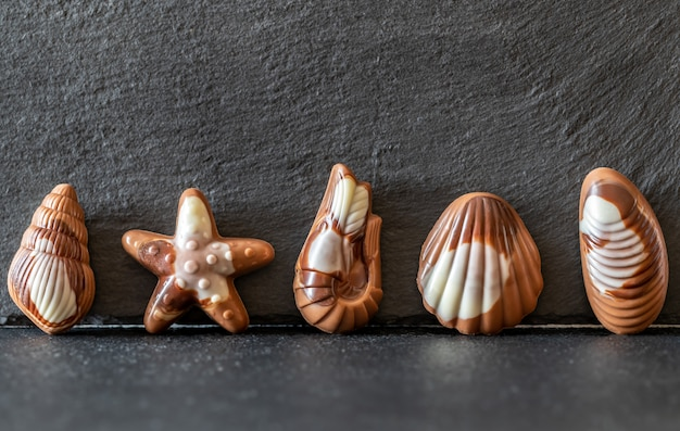 Chocoladesuikergoed in de vorm van zeevruchten
