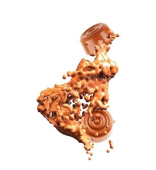 Chocoladesuikergoed, in tweeën gedeeld, met chocolade en zuivelstroom, geïsoleerd op witte achtergrond