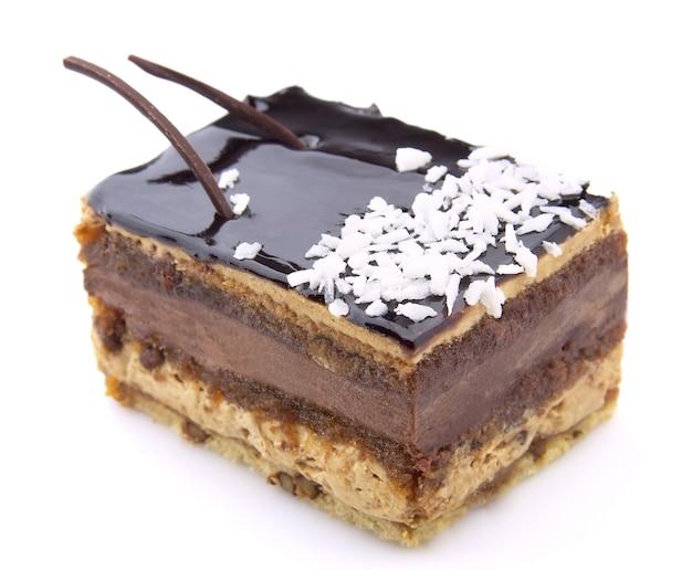 Chocoladetaart met een kokosschaafsel
