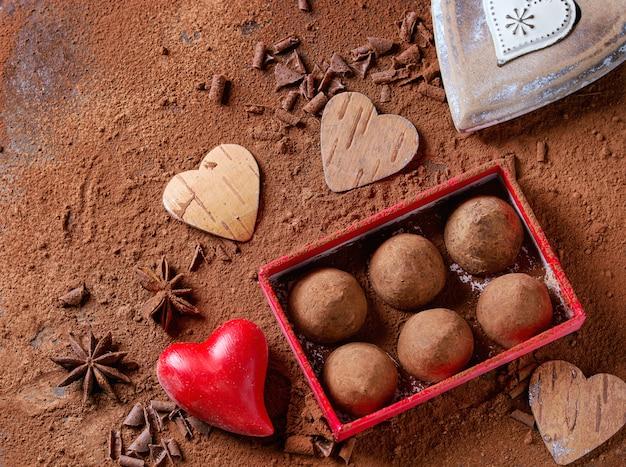 Chocoladetruffels met valentijns harten
